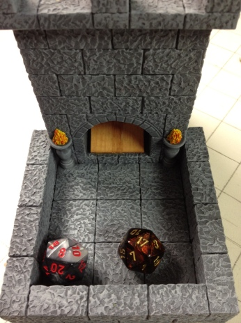 Dice tower built by the wonderful folks at Roving Band of Misfits